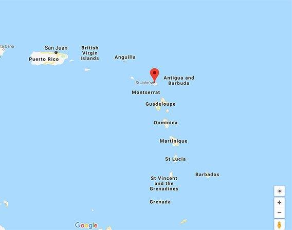 موقعیت جغرافیایی آنتیگوا و باربودا